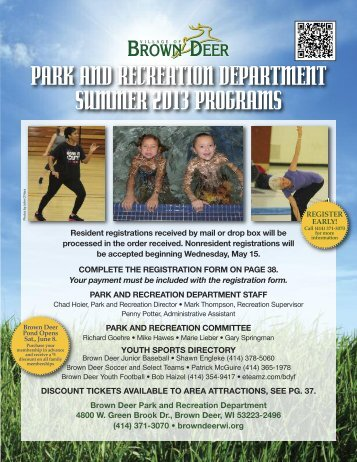 2013 Summer Program Flyer - Village of Brown Deer