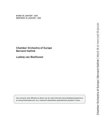 chamber Orchestra of europe Bernard haitink Ludwig ... - Salle Pleyel
