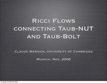 Ricci Flows connecting Taub-NUT and Taub-Bolt - MPP Theory Group