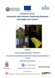 Master I Livello - II Facoltà di Scienze - Università degli Studi di Bari