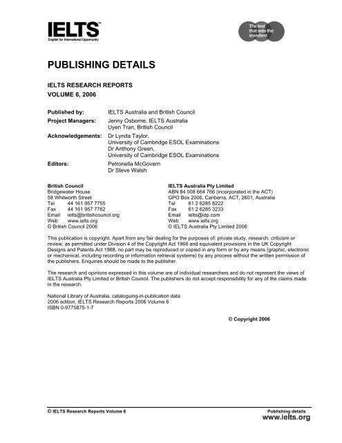 PUBLISHING DETAILS ielts