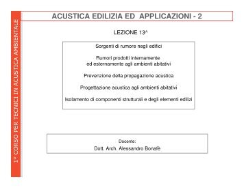acustica edilizia e applicazioni - 2