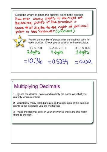 Number Names Worksheets : decimal multiplication word problems ...