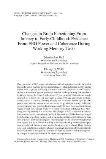 Changes in Brain Functioning From Infancy to Early Childhood ...