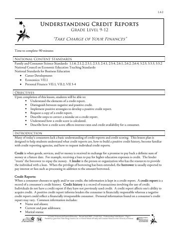 Understanding Credit Reports Lesson Plan