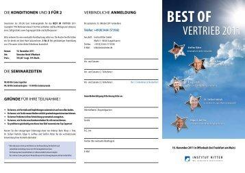 Jetzt downloaden: Flyer BEST OF Vertrieb 2011 - Steffen Ritter - Blog