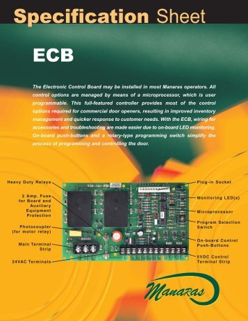 ECB BOARD040 - Specification Sheet - Manaras