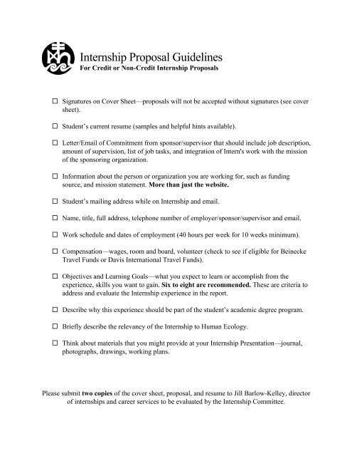 Internship Proposal Guidelines College Of The Atlantic