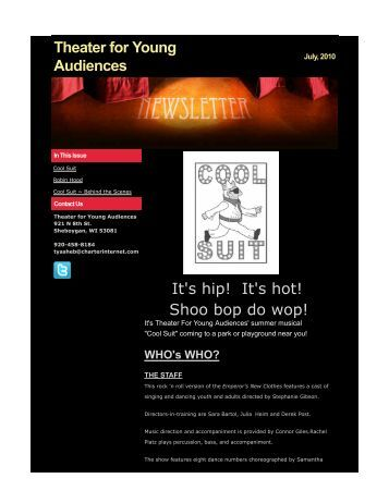 Theater For Young Audiences Newsletter, July 2010