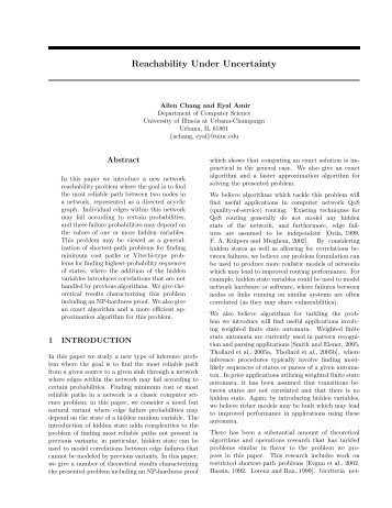 Reachability Under Uncertainty - CiteSeerX