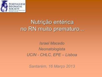 Nutrição entérica no RN prematuro - Israel Macedo