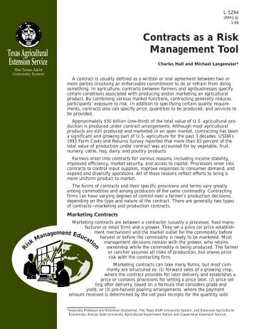 Contracts as a Risk Management Tool - Extension Agricultural ...