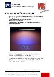 UV-Leuchte MR® 40 Cabinlight - MSS Elektronik GmbH