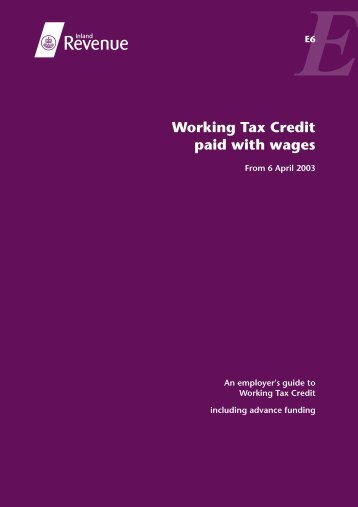 Working Tax Credit paid with wages - Revenue Benefits
