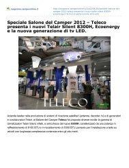 Speciale Salone del Camper 2012 – Teleco presenta i nuovi Telair ...