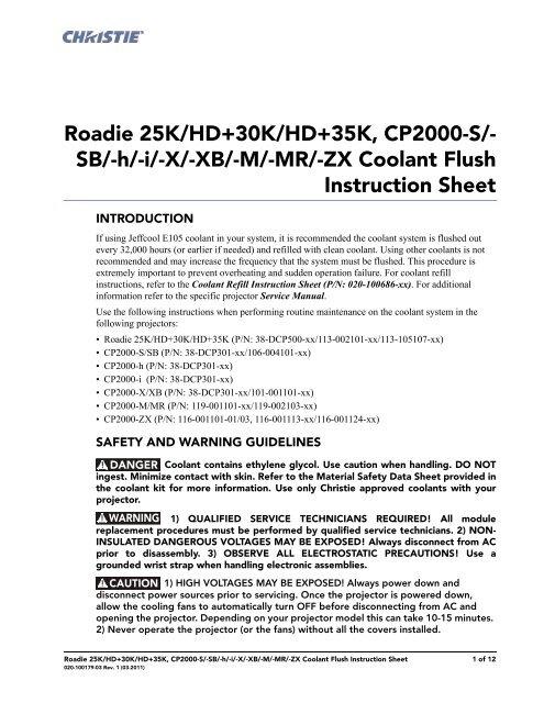 Christie Serie I Coolant Flush Instruction Sheet - Christie Digital ...