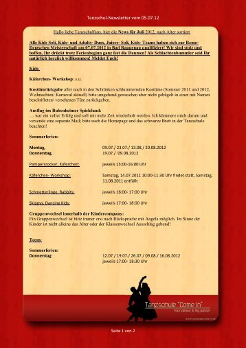"Tanzschul-Newsletter vom 05.07.12 - Tanzschule ""Come In"""