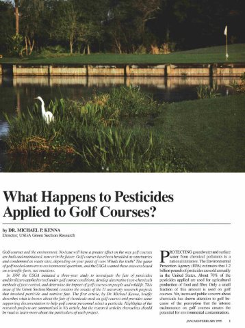 What Happens to Pesticides Applied to Golf Courses?