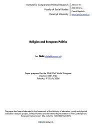Religion and European Politics - Masaryk University