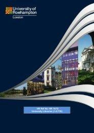 HR Ref No: HR 14/12 University Librarian (1.0 FTE) - Roehampton