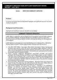 community services highlights and significant issues report – july 2012