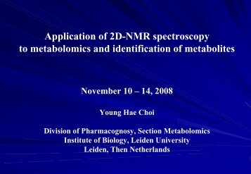 Application of 2D-NMR spectroscopy to metabolomics and ... - CSC
