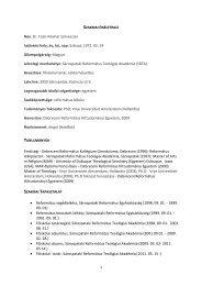 Szakmai önéletrajz - Sárospataki Református Teológiai Akadémia