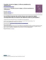 Canadian Journal on Aging / La Revue canadienne du ...