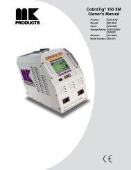 CobraTig® 150 XM Owner's Manual - MK Products