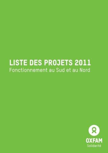 liste des projets 2011