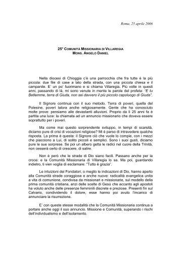 Intervento Mons. Angelo Daniel - Comunità Missionaria di Villaregia