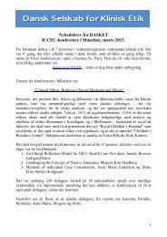 se - resume fra kongressen - Dansk Selskab for Klinisk Etik