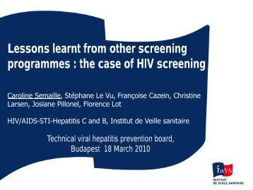Rationale for changing HIV screening - Viral Hepatitis Prevention ...