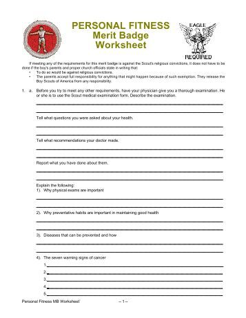 Worksheet Personal Fitness Merit Badge Worksheet personal fitness merit badge worksheet 2016 intrepidpath troop 655 bobcat individual scout worksheet