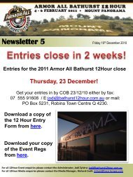 Newsletter 5 - Bathurst 12 Hour