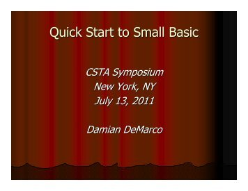Quick Start to Small Basic - CSTA