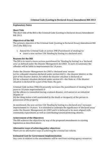 Criminal Code (Looting in Declared Areas) Amendment Bill 2013 ...