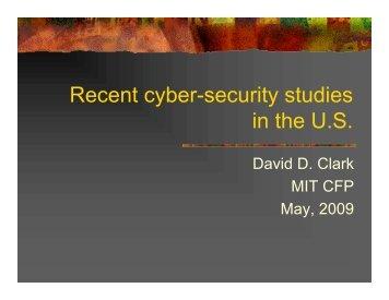 Recent cyber-security studies in the U.S.