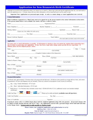 BIRTH CERTIFICATE REQUEST FORM INSTRUCTIONS PLEASE ...