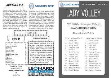 Lady Volley n. 7 - 26 Gennaio 2013 - Savino Del Bene