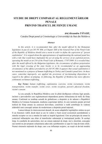 studiu de drept comparat al reglementărilor penale privind traficul de ...