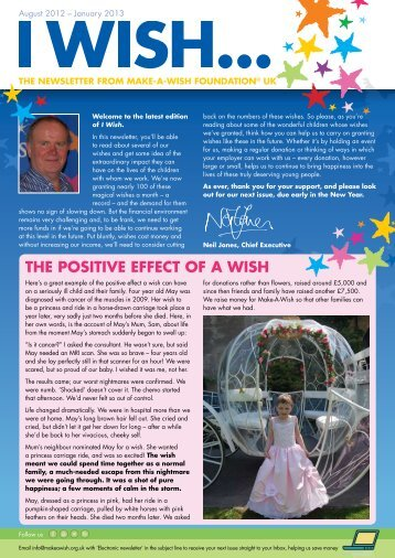 THE pOSITIvE EFFECT OF A WISH - Make-A-Wish Foundation UK