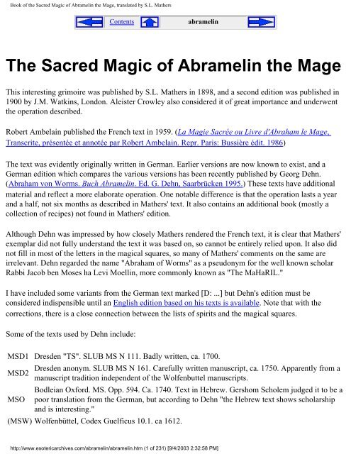 The Sacred Magic of Abramelin the Mage pdf