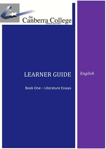 English Literature Essays Booklet - The Canberra College