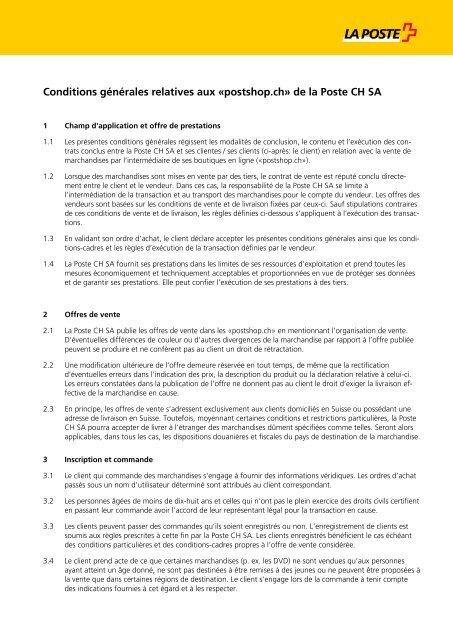 """Conditions générales relatives aux """"shops"""" de la Poste"""