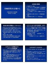 労働研究の立場から - 東京大学|大学院教育学研究科・教育学部