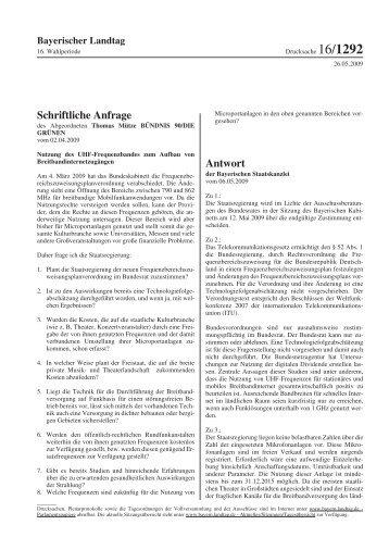 Schriftliche Anfrage Antwort - apwpt
