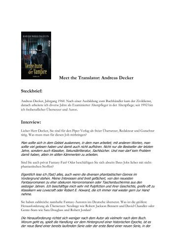 Meet the Translator: Andreas Decker Steckbrief ... - Piper-Fantasy.de