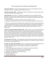 youth glossary of terms and definitions - Workforce Services Division