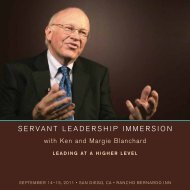 SERVANT LEAdERShip immERSioN - Ken Blanchard